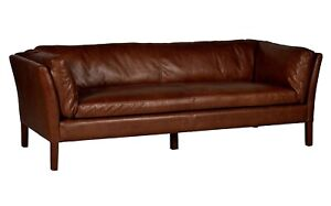 John Lewis Groucho Large 3 Seater Leather Sofa, Antique Whiskey - RRP: £2,099