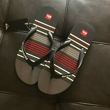 Quiksilver Flip Flop Mens Size 12 Striped Textured Striped Rubber Flip Flops New