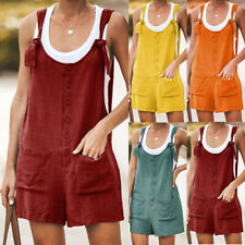 Womens Cotton Linen Romper Shorts Jumpsuit Dungarees Summer Beach Mini Playsuit