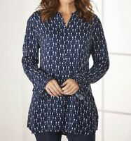 Size 1X Soft Surroundings Navy Button Up Down Poet Tunic Top Shirt Blouse New