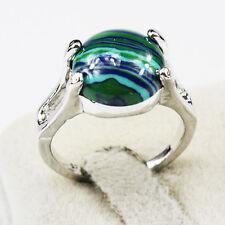 Malachite Gemstone Fashion  Jewelry 925 Silver Men Women Ring Size 6