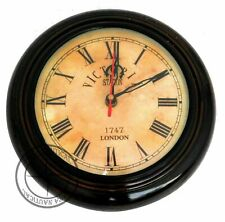 """Antique Style Wooden Wall Clock Victoria Station 12"""" Nautical Home Decor"""