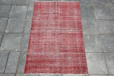 Kitchen Rug, Area Rug, 2.8x4.3 Ft, Turkish, Vintage, Red Color, Small, 3133 RUGS