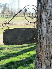 Vintage Scroll Wrought Iron Sign Bracket w Hanging Sign Blank Primitive Rustic