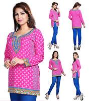 UK STOCK - Women Fashion Indian Short Kurti Tunic Kurta Top Shirt Dress 124B