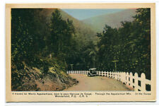 Appalachian Mountains Highway Gaspe Quebec Canada 1940s postcard