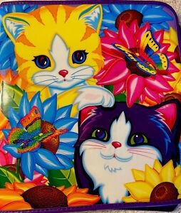 Lisa Frank 3 ring Zipper Puff Binder Kitten Cat Sunflower Vintage Butterfly