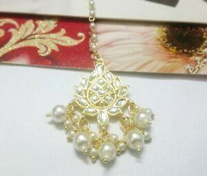 Indian Bridal Pearls Mang Tikka Gold Plated Kundan Head Piece Bridesmaid Jewelry