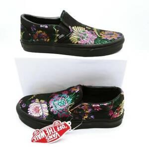 Vans Unisex Slip On Sneakers Shoes Black Low Top Floral M 5.5/W 7 New