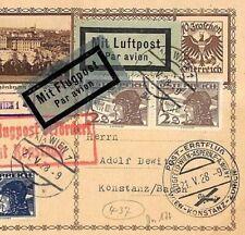 AUSTRIA AVIATION 1928 Flight Card Germany Konstanz Baden {samwells-covers}EE22