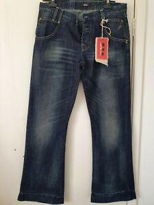 "Patrizia Pepe Designer Mens Blue Jeans Size 42 Waist 32"" BNWT wide leg Distresse"