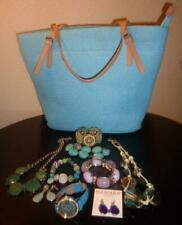 """HAND BAG & ACCENTING JEWELRY """"4 Bracelets, 2 Necklaces, 2 Earring Sets & Watch"""""""