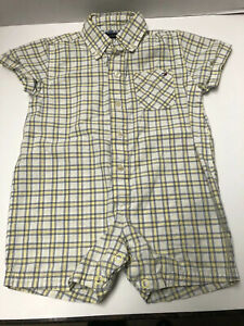 Tommy Hilfiger Infant Boys 3-6 Months Cotton Short Sleeved Plaid One Piece
