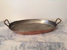 Vintage French Copper Oval Gratin Dish, Fish Pan