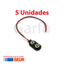 5X Conector Soporte con Cable de 12cm para Pila de 9V Clip de bateria