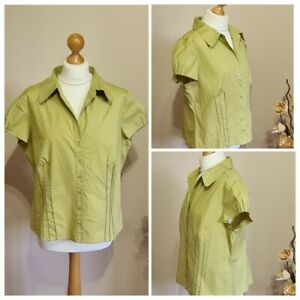 Ladies J Taylor Smart Casual Top. Green Cotton Mix Short Sleeved Women's Size 18