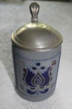 German Dab Stoneware Cobalt Beer Stein with Pewter Lid 1/2 Liter Dbgm Marked (2)