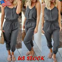 Women Lace Up Elastic Playsuit Trousers Ladies Casual Sleeveless Romper Jumpsuit