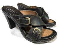 b.o.c. Women's BLACK Leather Mules Slide Casual Criss Cross Heeled Sandals 6M US