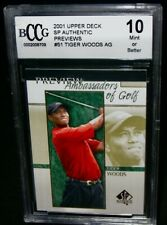 BCCG 10 Mint+ 2001 SP Authentic TIGER WOODS Rookie Golf Card #51 PGA Tour RC