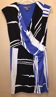 Donna Ricco New York Sz 12 White Blue Black Dress Spring