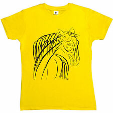Line Art Drawing Of Elegant Tall Horse Womens Ladies T-Shirt