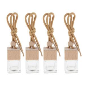 4Pcs 6ml Car Hanging Perfume Diffuser Scent Oils Bottle Pendant Glass Vials