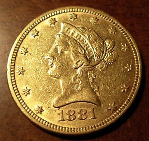 US 1881 Gold $10 Eagle AU Liberty Head Cleaned