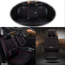 Deluxe Edition Car Seat Cover Cushion 5-Seats Full Set Linen+PU Leather w/Pillow