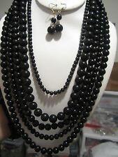 Five Layers Black Lucite Bead Necklace earring Set
