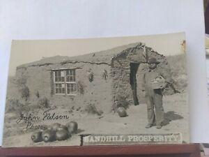 Vtg RPPC. Sandhill prosperity. Sod house. John Nelson Nebraska. Circa 1910