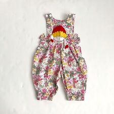 Vintage Carolina Floral Print Pleated Pant Jumper Pig Tail Girl Pocket Bow 12-18