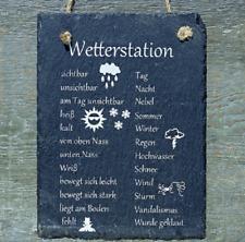 """Schild Spruchschild """"Wetterstation"""" 15 x 20 cm Schiefertafel Steinzeug"""