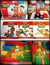 Lot Of 130+ Fisher Price TRIO Building Blocks Sticks w/ Instruction Booklets MOR