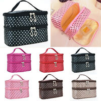 Womens Large Cosmetic Makeup Bags Case Double-Deck Toiletry Handbags Organisers