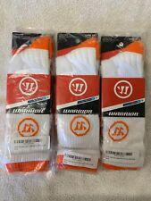 New 3 Pair Warrior Game Day Socks Home and Away Medium (Shoe 7.5-9) White/Orange