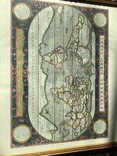 Antique 1587 Colored Map Abraham Ortelius Typvs Orbis Terrarvm  World Map Print