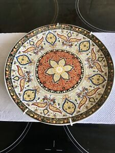 Stunning Vintage Moroccan Hand Painted Wall Mounted Ceramic Plate