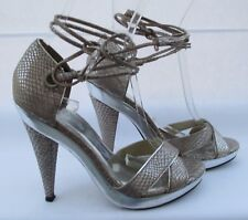 River Island size 5 (38) silver & pink ankle tie sandal heels