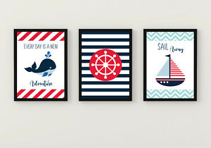 Nautical Nursery Wall prints, Nautical wall art, nautical kids room wall decor
