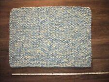 "Handmade Knit Acrylic Baby Boy Rug Mat Blue & Yellow 17 x 24"""