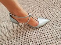 "New Look Silver Glitter T Bar Strappy Court Shoes 3"" Heels, Flex Comfort 7 + 8"