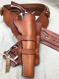 Handmade, one of a kind, vintage-look, leather western gun belt & holster. COLT