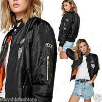 New Ladies Womens Girls Ma1 Padded Stylish Vintage Zip Up Bomber Biker Jacket