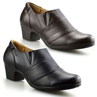 Ladies Womens Leather Mid Heel Smart Casual Zip Up Ankle Boots Booties Shoe Size