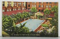 Savannah Georgia Swimming Pool Hotel De Soto Linen Postcard K6