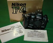 NIKON F4s 35mm SLR Camera Body MF-23 Data Back, MB21 & MB20 Battery Packs