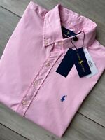 RALPH LAUREN POLO PINK FEATHER WEIGHT TWILL LOGO S/S SHIRT TOP - SMALL NEW TAGS
