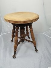 HD Bentley signed antique adjustable height piano stool clawfoot glass feet NICE