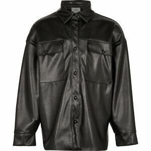 River Island Girls Black Faux Leather Oversized Shacket